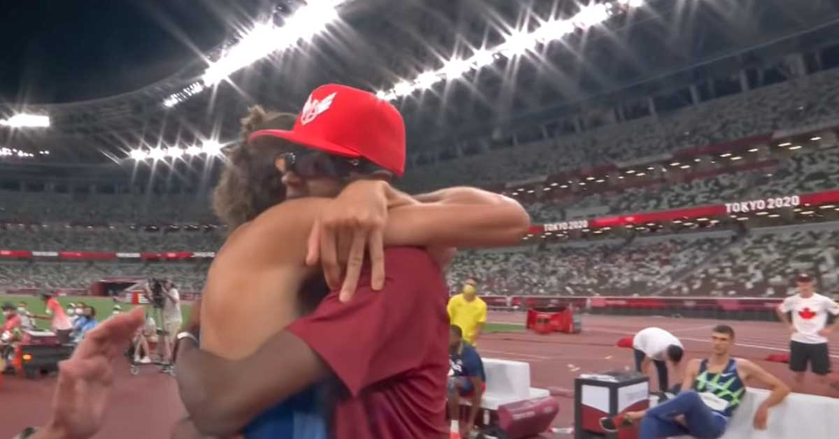 Longtime friends and rivals decide to share Olympic gold medal in high jump final - my positive outlooks